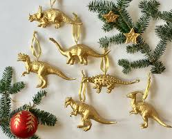 dinosaur ornaments gold dino baubles