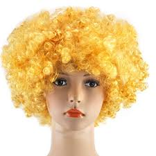 curly afro wig multi colour party clown funky disco mens ladies