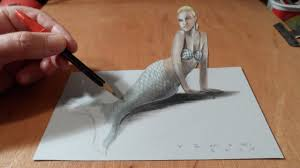 how to draw a 3d mermaid drawing anamorphic illusion trick art