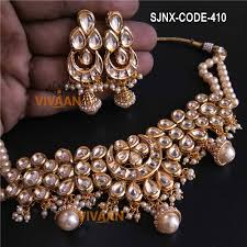 white colour necklace images Traditional white colour beads neck fit necklace set for women jpg
