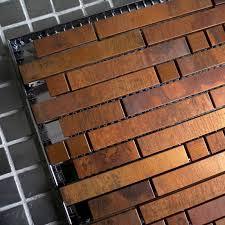 Mosaics Tile Antique Striped Metal Copper Tiles Backsplash Bronze - Bronze backsplash tiles