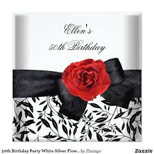 Invitation Cards For 50th Birthday Party 50th Birthday Party White Silver Flower Black Bow Card Silver