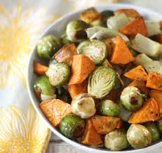 healthy thanksgiving sweet potato recipes roasted sweet potatoes and brussels sprouts sundaysupper peanut
