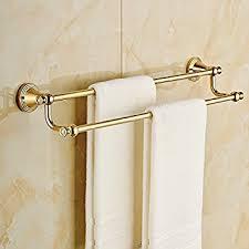amazon com wall mount double towel bar gold brass bath towel rack