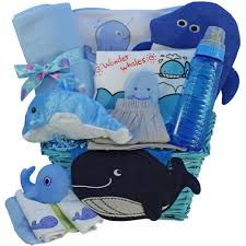 whale tails fishing blue baby gift basket boy blue