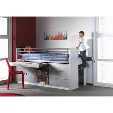 lit enfant combiné avec bureau coulissant byblo coloris gris et blanc