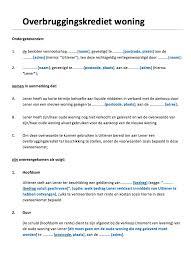 Goedkoop Lenen Voor Woning Overbruggingskrediet Woning Voorbeeldcontract Nl