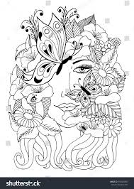 vector illustration zentangl portrait covered stock vector