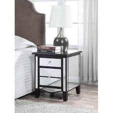 Nightstand Size by Creativity Black And Mirrored Nightstand Homelegance Jacqueline