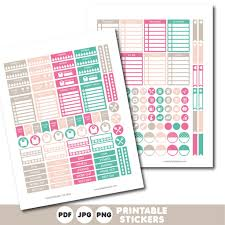 To Do Stickers Turquoise Brown And Pink Printable Weekly Planner Stickers With