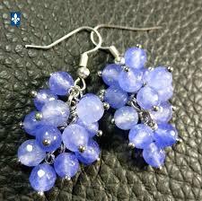 light blue semi precious stone pretty light purple semi precious stones plated silver earrings