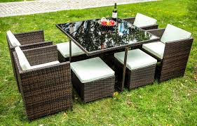 Outdoor Furniture Set Amazon Com Merax 9 Pcs Rattan Cube Garden Furniture Set Dining