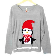 lightweight hi lo penguin tacky ugly christmas sweater christmas