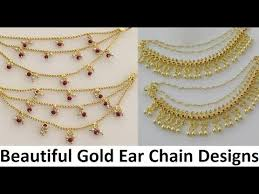 earring chain necklace images Gold ear side chains designs pearl ear chains jpg