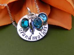 grandkids necklace grandmother necklace with birthstones personalized gift for