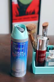spray paint anything turquoise makeup caddy u2014 a simpler design a