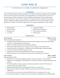 Resume Sample Maintenance Worker by Building Construction Resume Templates