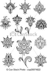 vector illustration of paisley design elements with outline indian