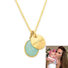 baby name necklace gold gold name necklace with sea green chalcedony by present