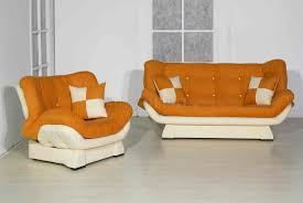 orange u0026 cream two tone microfiber living room w sleeper sofa