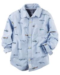 oxford airplane button front shirt carters com