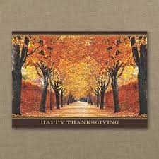 vibrant treeline happy thanksgiving personalized cards