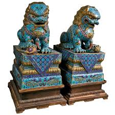turquoise foo dogs for sale large pair of cloissone foo dogs foo dog furniture