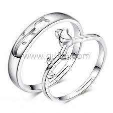 Sterling Silver Wedding Ring Sets by Sterling Silver Matching Flower Couples Wedding Rings Set For 2