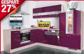 roller einbauküche impuls winkelküche hochglanz aubergine polarpinie nachb