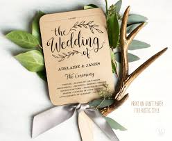 fan program printable wedding program template rustic wedding fan