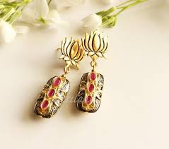 earrings online india lotus earrings maroon bead gemstone gold tone earrings online in