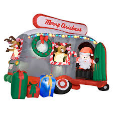 Blow Up Lawn Decorations Shop Gemmy 6 Ft Inflatable Santa In Rv At Lowes Com