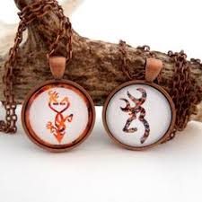 Buck And Doe Couples Necklace Camo And Orange Buck And Doe Necklace Deer Pendant Couples