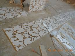 marble inlay waterjet medallion decorative flooring