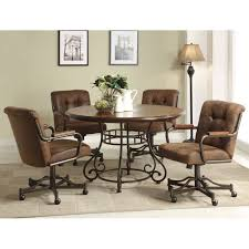 dinette table and chairs with casters dining room set with caster chairs dayri me