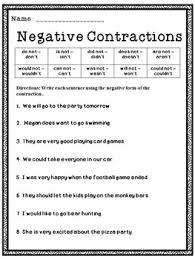 free contractions activity sheets this is a great freebie for