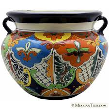 mexican tile mexican talavera large round planter 1
