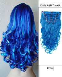 blue hair extensions 7pcs blue wave 100 remy hair clip in human hair extensions