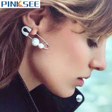 ear pin 1pc fashion simulated pearl ear jewelry unique safety pin earrings