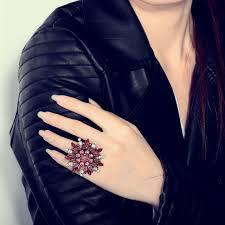 big fashion rings images Okajewelry show big flower rings rhinestone sunflower stretch ring jpg