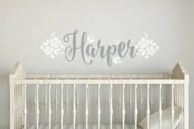 Wall Letter Decals For Nursery Fancy Name Wall Decal Baby Name With Flowers Roses Bedroom
