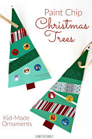 paint chip christmas trees christmas ornament craft for kids