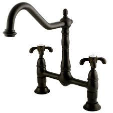rubbed kitchen faucet kingston brass 2 handle bridge kitchen faucet with cross