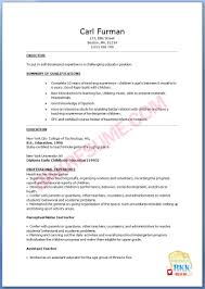 curriculum vitae sample for kindergarten teacher resume examples