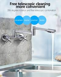 100 brass chrome fold kitchen faucet extension and cold water