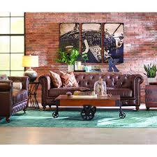 home decorators collection gordon brown leather loveseat