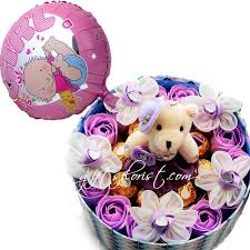 teddy in a balloon gift flowers and gifts delivered in singapore chocolate bouquet baby
