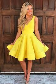 simple yellow satin v neck short a line prom dress qpromdress