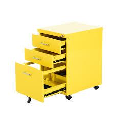 Yellow Metal Filing Cabinet Homcom 3 Drawers Metal Filing Cabinet Lockable W Wheels Yellow