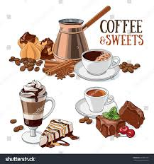 different types coffee sweet desserts set stock vector 620842184